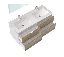 Meuble de salle de bain 120 cm BERMUDES Blanc et chêne