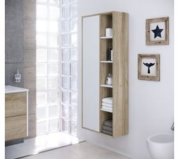 Colonne de salle de bain cuba suspendre blanc et ch ne for Colonne salle de bain chene