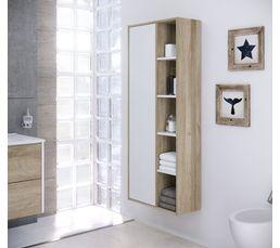 Colonne de salle de bain CUBA à suspendre blanc et chêne