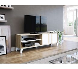 Meuble Tv Scandinave Otawa Chêne Et Blanc Meubles Tv But