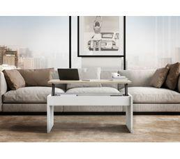 Table Basse Plateau Relevable Yana Blanc Et Chêne Tables Basses But