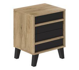 Chevet style industriel OTAWA imitation chêne et noir 2 tiroirs