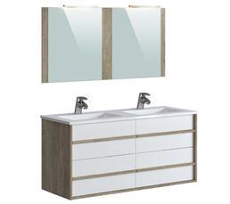Meuble de salle de bain 120 cm KOH TAO Blanc et imitation chêne