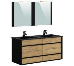 Meuble de salle de bain 120 cm KOH TAO Imitation chêne brut et noir