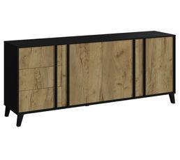 Buffet 3 portes 3 tiroirs OTAWA Imitation chêne et noir