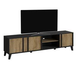 Meuble TV L.190 OTAWA Imitation chêne et noir