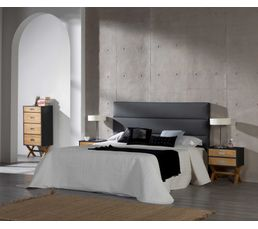 chevet 2 tiroirs pila noir laqu et pin cir chevets but. Black Bedroom Furniture Sets. Home Design Ideas