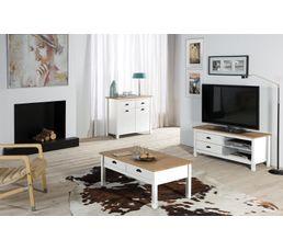 meuble tv 2t blanc maya bois massif - Meuble Tv Bois Massif Blanc