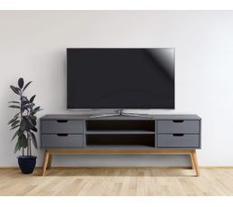 Meuble Tv Maela Bois Massif Meubles Tv But # Dessin Meuble Tv Bois Pin Avec Le Vus