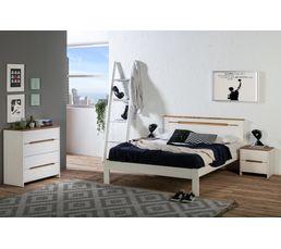 Chevet 2 tiroirs ELISA coloris pin blanchi Bois massif
