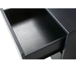 Chevet 2 tiroirs Suède gris anthracite