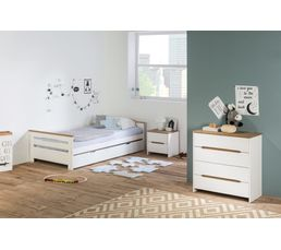 Lit gigogne 2x90x190 cm ELISA coloris pin blanchi Bois massif