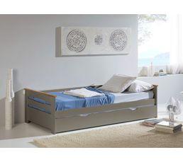 Lit gigogne 2x90x190 cm ELISA coloris gris Bois massif