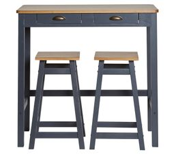 Table bar + 2 tabourets de bar MAYA Gris