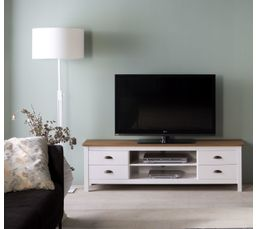 Meuble Tv 4t Blanc Maya Bois Massif Meubles Tv But # Meuble Tv Sans Pied
