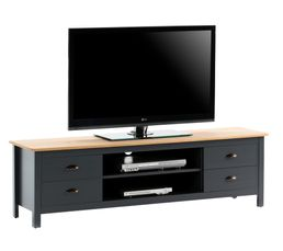 Meuble TV 4T gris MAYA Bois massif