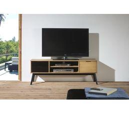 meuble tv ethnique lucia noir et bois cir