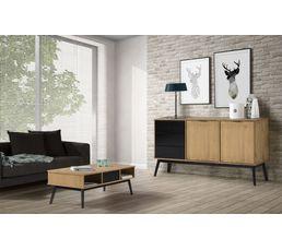 table basse ethnique lucia noir et bois cir tables basses but. Black Bedroom Furniture Sets. Home Design Ideas
