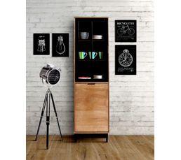 Vitrine Style Atelier Bronx Bois Massif Et Noir Buffets But # Plans Pour Realisation De Vitrine D'Angle En Bois