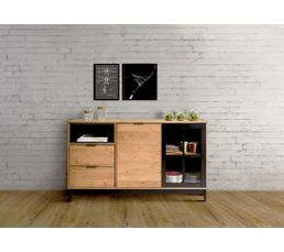 buffet style atelier bronx bois massif et noir buffets but. Black Bedroom Furniture Sets. Home Design Ideas