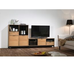 meuble tv style atelier bronx bois massif et noir meubles tv but. Black Bedroom Furniture Sets. Home Design Ideas