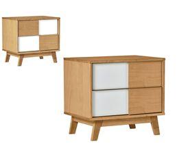 Chevet en bois massif modulable 2 tiroirs DAMIER