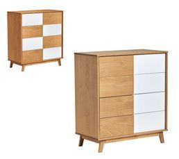 modulable 4 tiroirs Commode en bois massif DAMIER