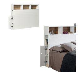 tte de lit avec rangements fonds de niches coloris chne pablo coloris blanc - Tete De Lit Rangement