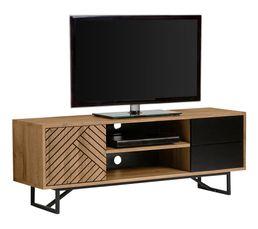 Meuble TV industriel EDEA Imitation chêne et Noir