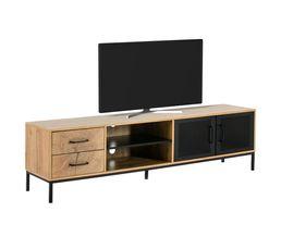 Meuble TV 2 portes 2 tiroirs CUTWOOD Imitation chêne et noir
