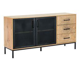 Buffet 2 portes 3 tiroirs CUTWOOD Imitation chêne et noir