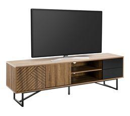 Meuble TV industriel L.180 EDEA Imitation chêne et noir
