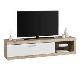 Long meuble TV L.181 Remo imitation chêne gris/blanc