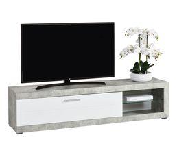 Long meuble TV L.181 Remo imitation béton/ blanc