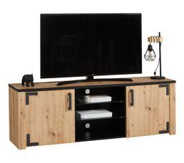 Meuble TV LAZIO noir/ imitation chêne