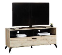 Meuble TV rectangulaire UMBRIA imitation chêne gris/ noir