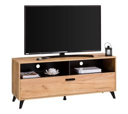 Meuble TV industriel UMBRIA Décor imitation chêne/ noir