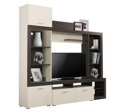Meuble télé LESTER Bois noir et blanc