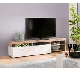 Meuble Tv Blanc Bois - Meuble Tv Fiona Bois Gris Et Blanc Meubles Tv But[mjhdah]https://www.drawer.fr/31524-thickbox_default/meuble-tv-design-blanc-et-bois-de-frene-joshua.jpg