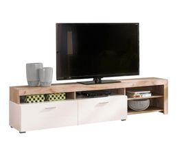 meuble tv fiona bois gris et blanc but dealable. Black Bedroom Furniture Sets. Home Design Ideas