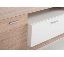 Meuble TV contemporain MINO Bois gris et blanc