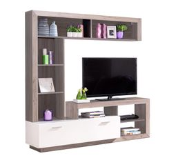Meuble TV GLEN Blanc et Imitation bois gris