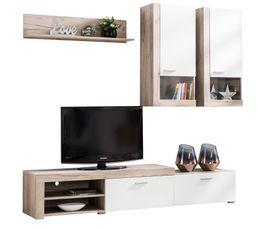 Meuble télé BELT Bois gris et blanc