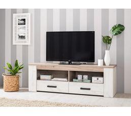 Meuble TV KENT Blanc et bois gris