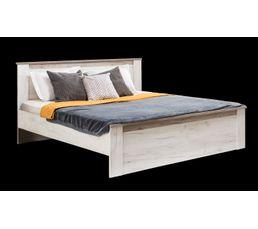 Lit 160x200 cm  KENT blanc et bois gris