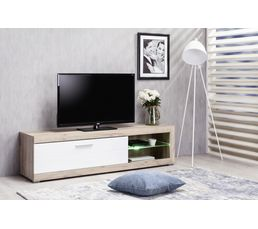 Meuble Tv Remo Ch Ne Gris Blanc Meubles Tv But # Meuble Blanc Et Chene