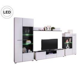 Meuble TV design LED COMETE Blanc et noir