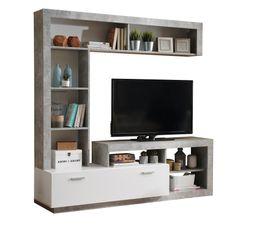 Meuble TV GLEN Blanc et Imitation béton