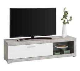 meuble tv contemporain REMO imitation béton/blanc