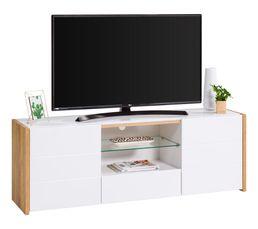 meuble tv contemporain ALICIA blanc/chêne
